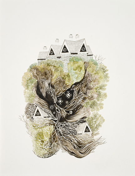 'Eyrie', Ink on Paper, 2009, by Amber Albrecht