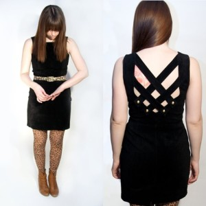 "Erin modeling the ""Little Black Suede Dress with Sexy Strappy Back"" (click on the photo to shop!)"