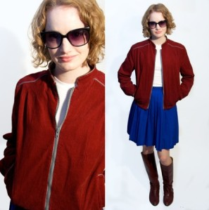 "Amber modeling the ""Deep Magenta Corduroy Spring Jacket"" (click on the photo to shop)"