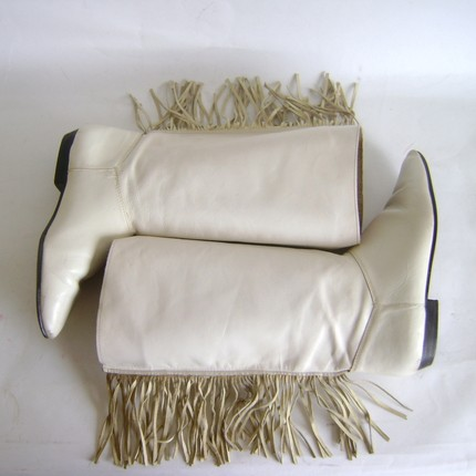 Sz 7 Vintage Cream Leather Riding Boots w/ Fringe