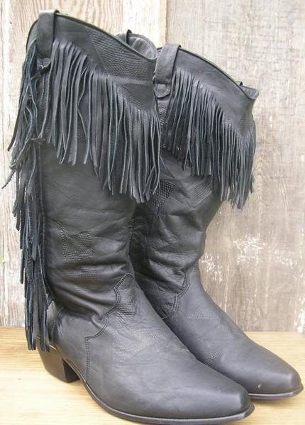"""I think I'm staring to love fringe on everything. """"80s Vintage Dingo Leather Slouch Fringe Boots Black Like New Size 7"""""""