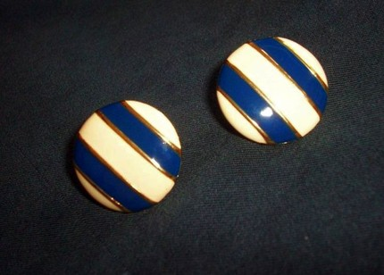 Vintage 80's Enamel Nautical Earrings