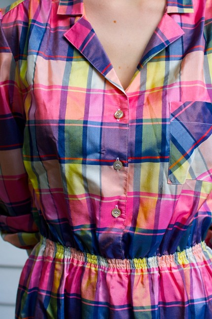 Vintage Candy Colored Plaid Silk Shirt Dress at The Crumpet Closet