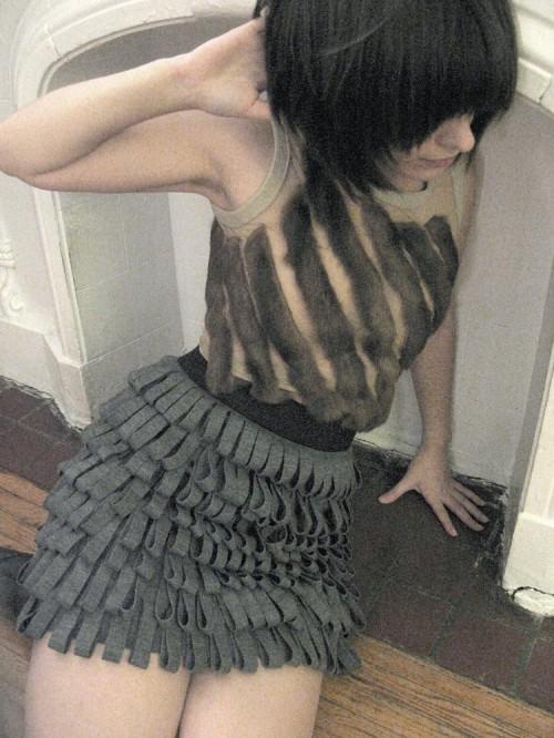 jersey fringe bandage skirt