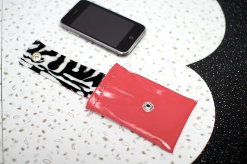 Red PVC iphone/ipod Cozy lined in Zebra Print from Lalouka
