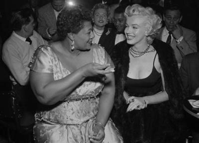"""Ella Fitzgerald & Marilyn Monroe listening to jazz at Hollywood's Tiffany Club in 1955 (via ellafitzgerald.com)"